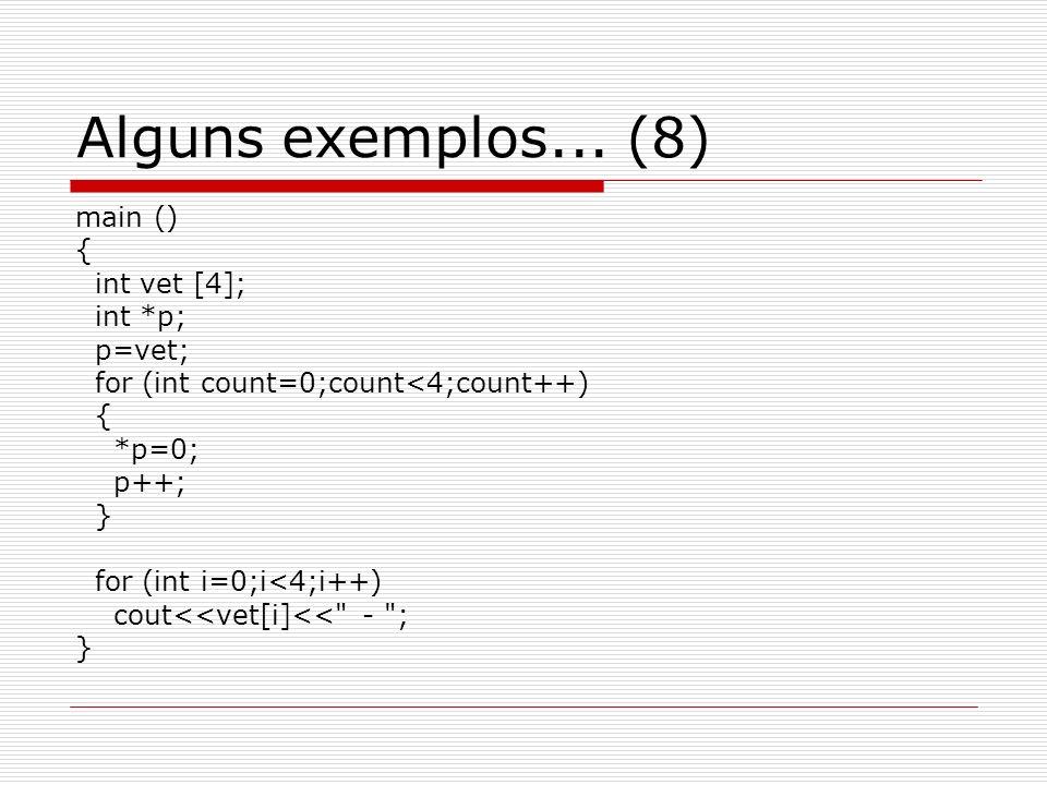 Alguns exemplos... (8) main () { int vet [4]; int *p; p=vet;